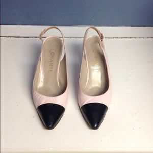 Chanel Pink and Black pumps heels